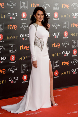 dress penelope cruz white white dress red carpet dress slit dress sandals long dress