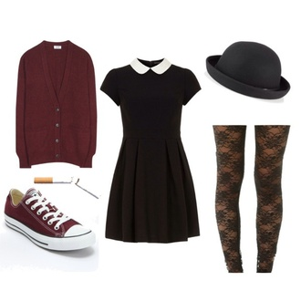 dress grunge outfit burgundy collared dress cardigan lace converse sneakers bowler hat back to school