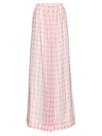 skirt silk gingham white pink