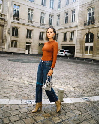 top tumblr rust denim jeans blue jeans boots bag silver bag fall outfits