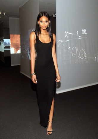 dress black chanel iman victoria's secret model black maxi dress sleeveless dress long dress slit little black dress