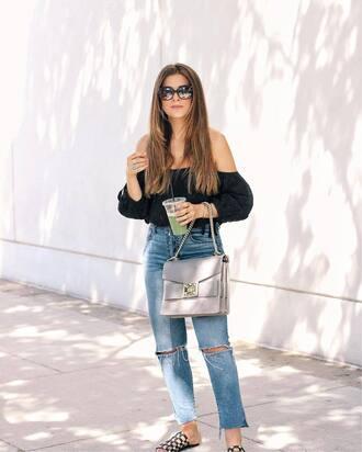 top sunglasses tumblr black top off the shoulder off the shoulder top denim jeans blue jeans shoes slide shoes bag grey bag