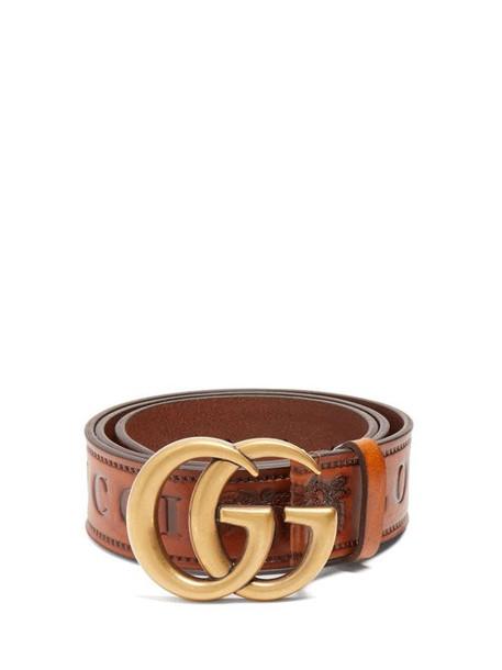 Gucci - Gg Logo 4cm Leather Belt - Womens - Tan
