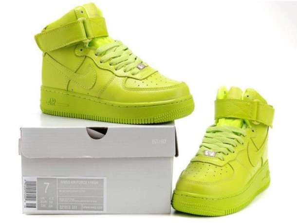 178e83f0d4a shoes neon yellow nike nike shoes airforce 1 high top sneakers nike air  force 1