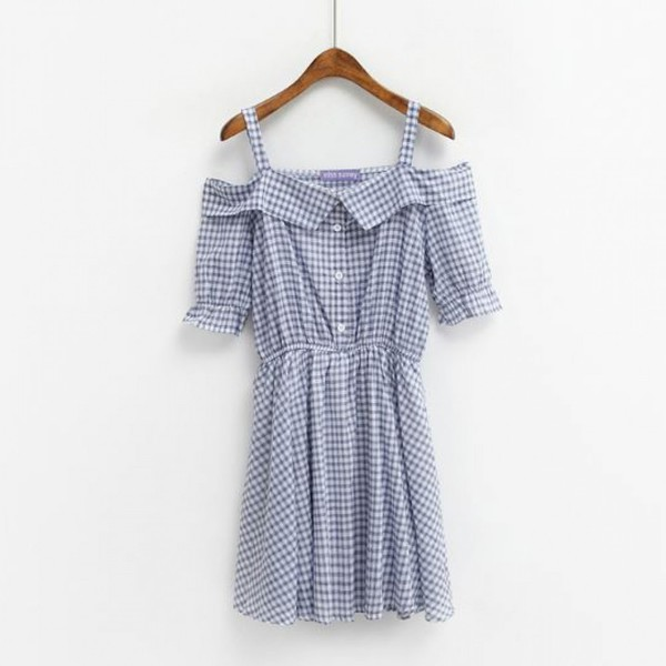 dress plaid cute summer girly blue fashion style spring checkered adorable outfit spring outfits summer dress light blue kawaii short dress boogzel clothes vintage
