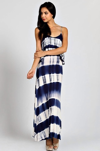 dress stripes long dress striped dress maxi dress trendy white backless dress navy girly tie dye