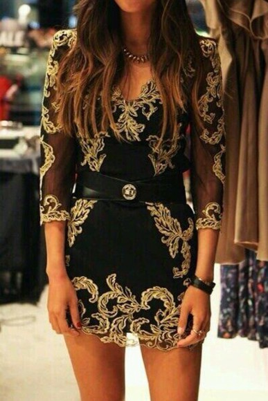 lace dress lace gold black