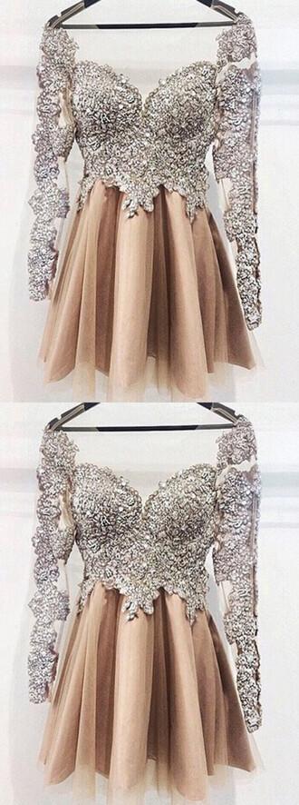 dress short homecoming dress beaded dress long sleeve dress champagne dress luxury homecoming gown