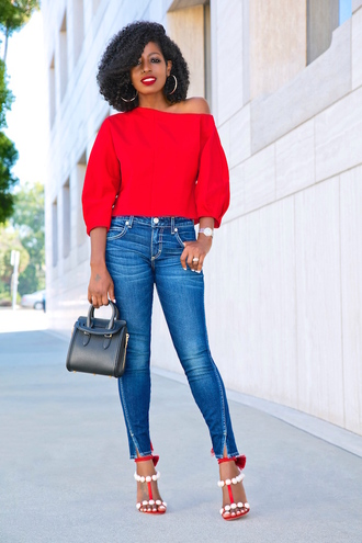 blogger top jeans bag shoes