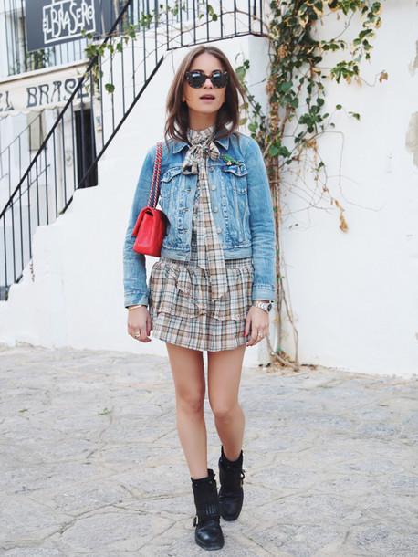 lizzy v d light blogger skirt red bag denim jacket shirt