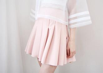 pink kawaii cute japanese skirt t-shirt white transparent top