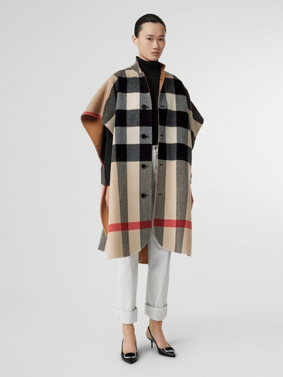 Reversible Check Wool Blend Poncho in Camel - Women | Burberry United States