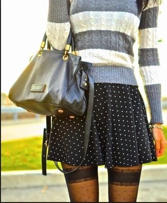sweater cream gray stripes