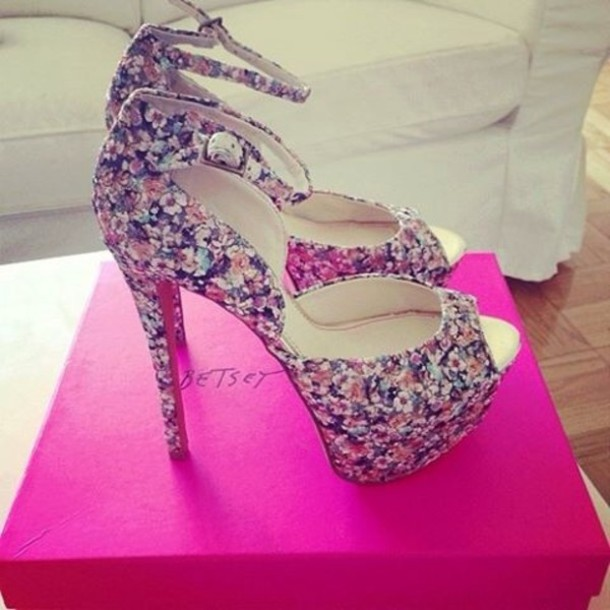 shoes floral heels