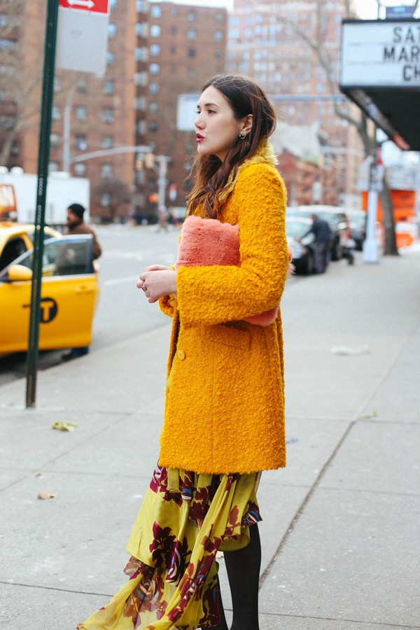 Coat tumblr yellow yellow coat fuzzy coat dress floral floral dress yellow dress bag ...