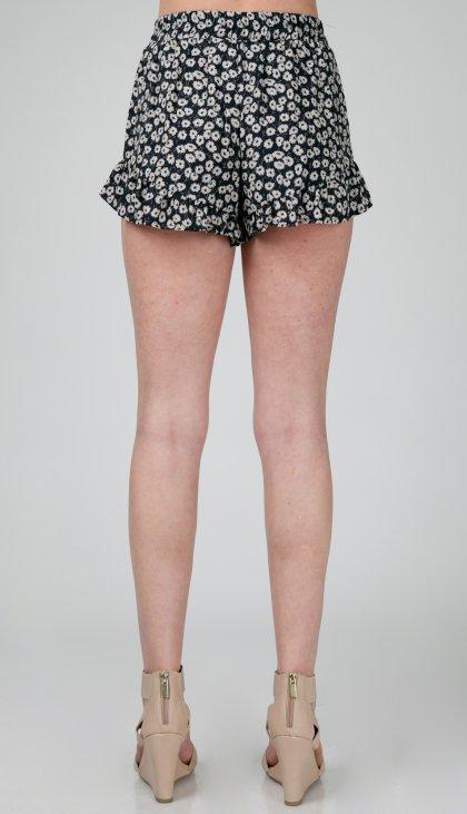 Mini flower ruffle bottom shorts