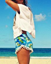 shorts,summer,beach,pom pom,pompom shorts,flowered shorts,tropical,tassle,trendy,tumblr,High waisted shorts,fringes,green shorts,summer shorts,fringe shorts,clothes,tumblr shorts,tumblr clothes,tumblr girl,tumblr outfit,pom pom shorts,pom poms,green,lace,lace shorts,tropical print shorts,tropical shorts,tropical print pants,summer outfits,dress,fashion top shorts summer bag hat hot clothes,vans,hippie,hippie headband,boho,boho pants,boho short,coachella,crotchet coachella hippy boho corset,belinda floral coachella hippy boho,flowers,flower hair,sunglasses,spring break,cute shorts,follow me babies,sea,cute,blue,any colour,blouse,pompom trim,island,palm tree print,shirt,hawaiian,tassel,white,bobbles,floral,hibiscus,leaves,palm,tree