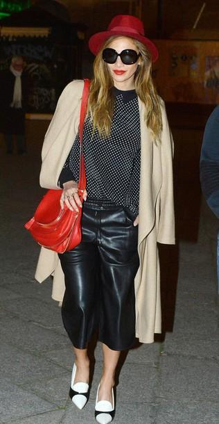 pants cropped pants nicole scherzinger hat pumps leather leather pants faux leather