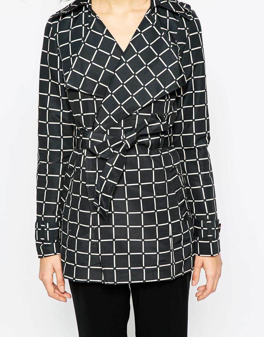 Vero moda grid print trench coat at asos.com