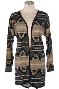 Spring New Taupe Tribal Aztec Print Lightweight Cardigan Sweater s M L | eBay