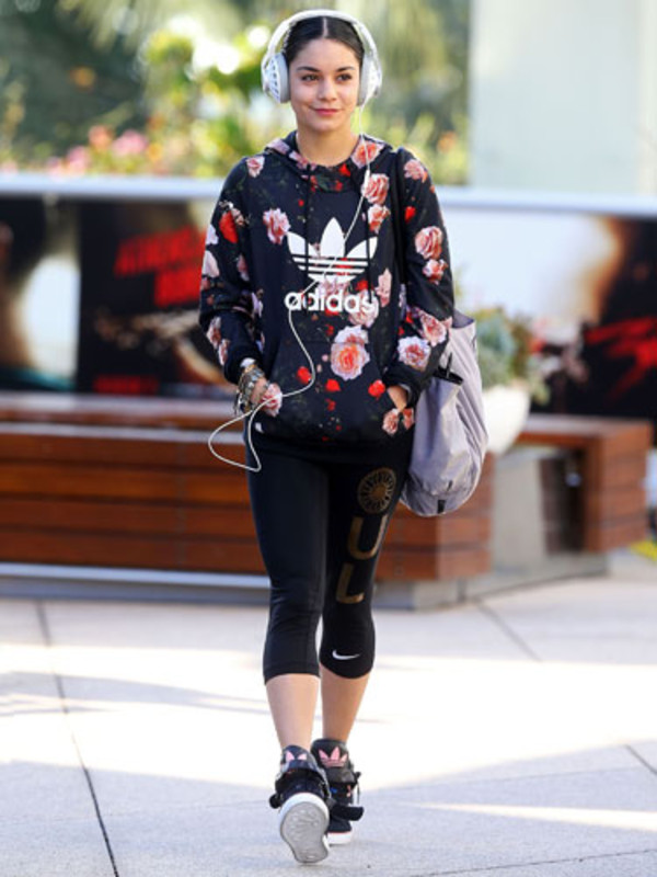 sweater hoodie sweatshirt flowers adidas vanessa hudgens adidas shoes coat jacket women top flowered top floral top black leggings bag sports top leggings black hoodie headphones sportswear sports shoes sports sneakers sneakers adidas shoes celebrity sports bag Celeb Gym Clothes vanessa hudgens gym clothes