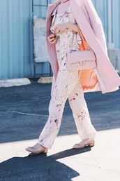 hallie daily,blogger,shorts,top,jumpsuit,coat,jewels,shoes,sunglasses,chanel bag,pink coat,floral jumpsuit,all pink everything,monochrome outfit