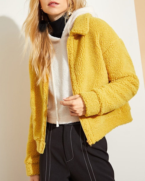 jacket fleece girly girl girly wishlist mustard fleece jackets fur fur jacket fall outfits cute comfy
