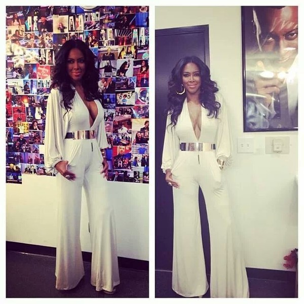 pants white jumpsuit kenya moore celebrity style belt jumpsuit