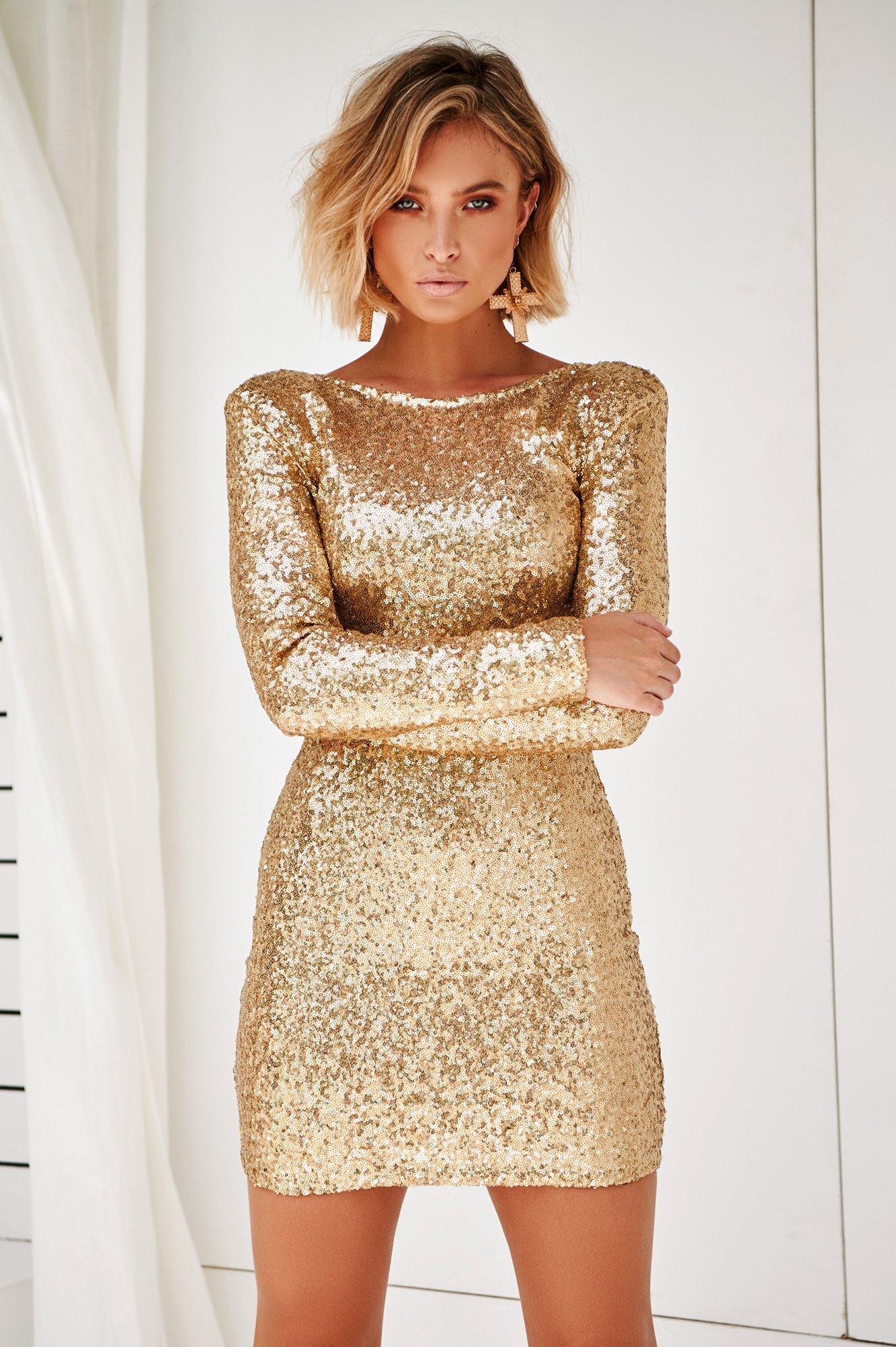 Flourish In Darkness Dress (Gold)