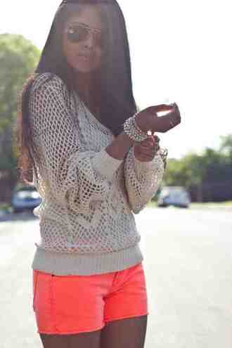 shoes neon orange shorts knit shirt sweater