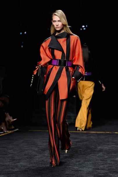 pants coat fashion week 2015 karlie kloss