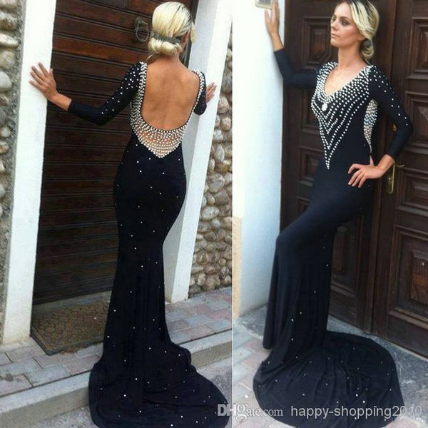 Aliexpress.com : Buy 2014 Hot & Sexy Low Backless robe de soiree With Train Long Sleeve Scoop Beaded Black Long Prom Dresses 2014 from Reliable dress up fashion doll suppliers on 27 Dress