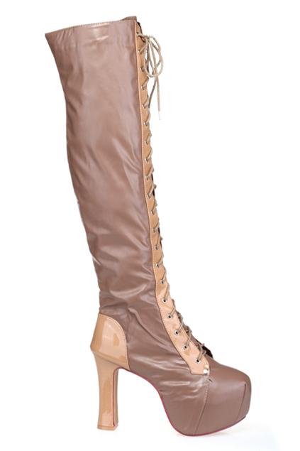 Platform front nude heeled boots [asod0006]
