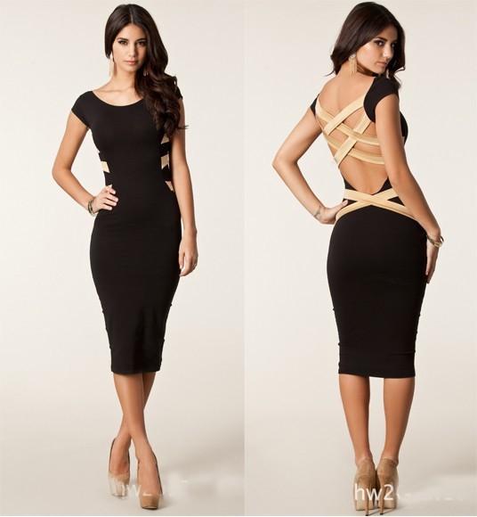 Plus Size 2014 New European Fashion Women Sexy Knee Length Black