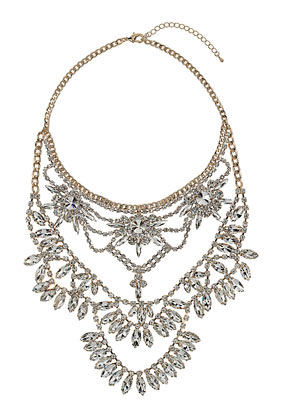 Premium Multirow Rhinestone Necklace - Topshop