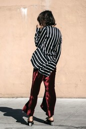pants,cropped velvet pants,tumblr,burgundy,velvet,velvet pants,wide-leg pants,red pants,shirt,flowy,silk,silk shirt,stripes,striped shirt,shoes,black shoes,mules,mid heel sandals,wide-leg velvet pants,cropped wide-leg velvet pants