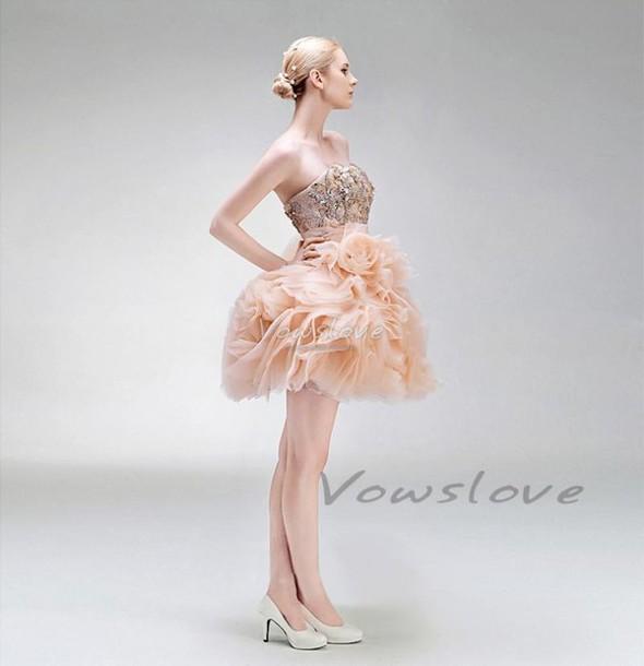 dress, blush pink, pink short dress, short prom dress, short ball ...