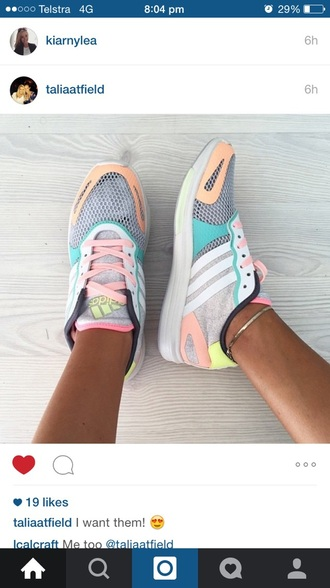 shoes adidas pastel color color/pattern sneakers basket colorful run running running shoes adidas shoes pastel pastel sneakers bright good cool tumblr trainers adidastrainers low top sneakers multicolor sneakers gym workout grey pink orange white kicks new 2015 girl adidas runners instagram blue dress sports shoes vintage neon multicolor