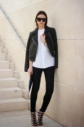 fashion vibe,jeans,shoes,shirt,jacket,sunglasses,bag,monochrome