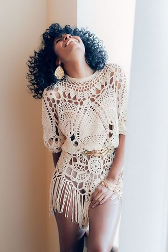 dress crochet dress cream dress crochet dresses lace dress fringed dress cream fringe crochet romper crochet