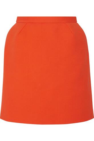 skirt mini skirt mini cotton orange bright
