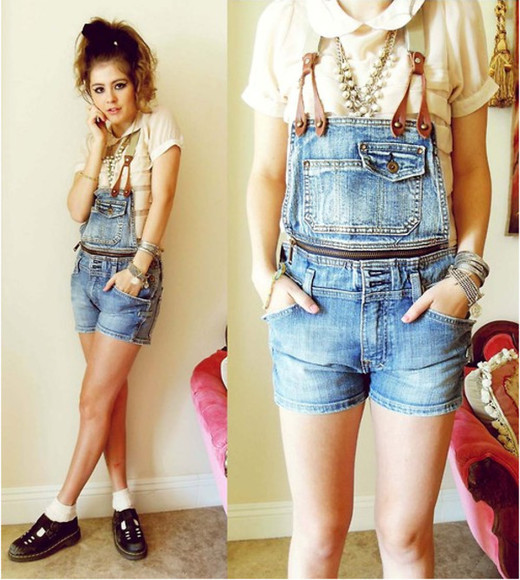 necklaces blouse shorts peter pan collar blouse peter pan collar cream denim overalls