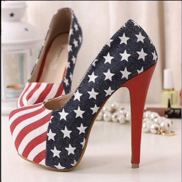 shoes usa american american flag high heels heels july 4th red white blue denim belt white high heels platform pumps