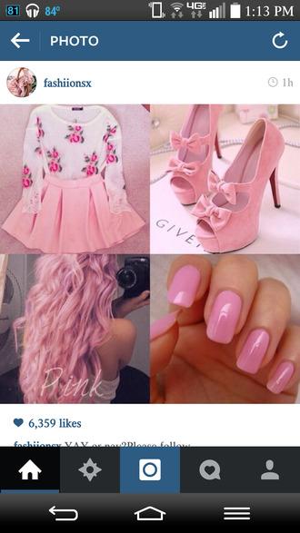 shoes nails hair skater skirt skirt sleeves baby pink