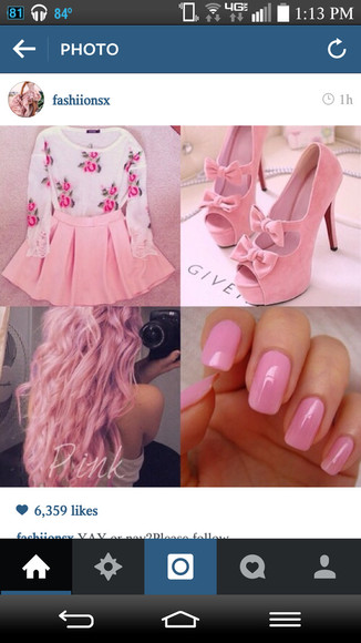 nails shoes hair hot pink skater skirt skirt sleeves