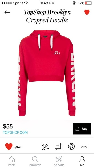 sweater cropped sweater red hoodie