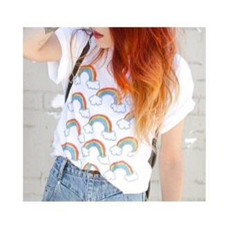 white t-shirt rainbow soft grunge