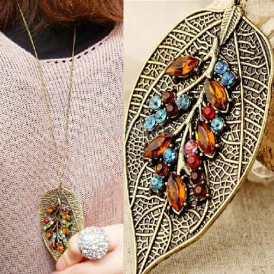 Colorful crystal rhinestone leaf long chain pendant necklace   free shipment