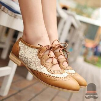 shoes lace oxfords lace up leather brown white cute pretty dress shorts faux hipster casual vintage shoe flats flats shoes brown shoes tan shoes lace shoes cute shoes