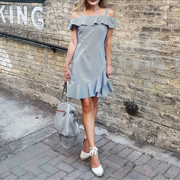 dress tumblr off the shoulder off the shoulder dress mini dress grey dress stripes striped dress espadrilles white espadrilles bag grey bag wedges wedge sandals shoes
